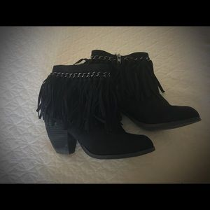 Not Rated Fringe Booties Mohegan Black Size 6.5